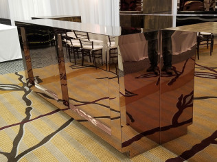 Mirrored Acrylic -  Bronze Bar      5 - 8 foot sections available to make up to a 40 foot bar      24 x 42 x 96 inches      $575.00