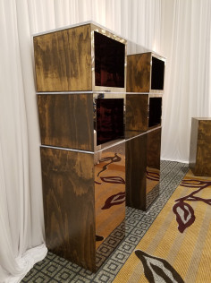 Mirrored Acrylic - Bronze / Wood Back Bar      24 x 80 x 72 inches <br/>    $475.00